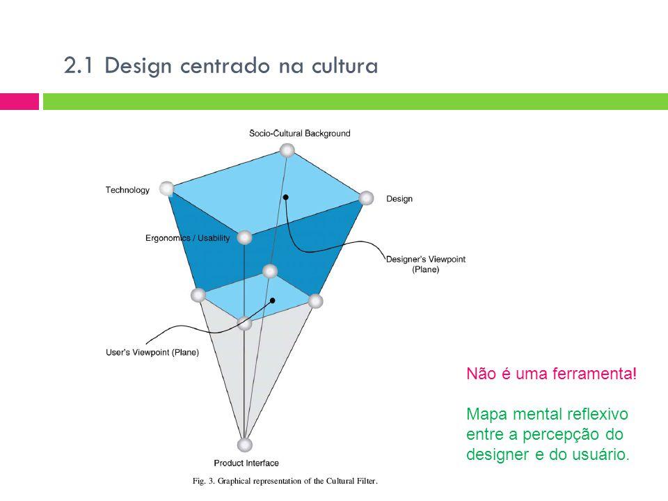 2.1 Design centrado na cultura Não é uma ferramenta.