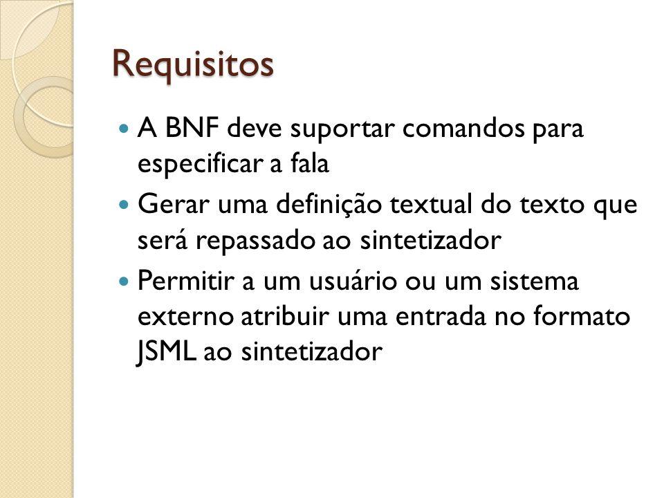 Requisitos A BNF deve suportar comandos para especificar a fala Gerar uma definição textual do texto que será repassado ao sintetizador Permitir a um usuário ou um sistema externo atribuir uma entrada no formato JSML ao sintetizador