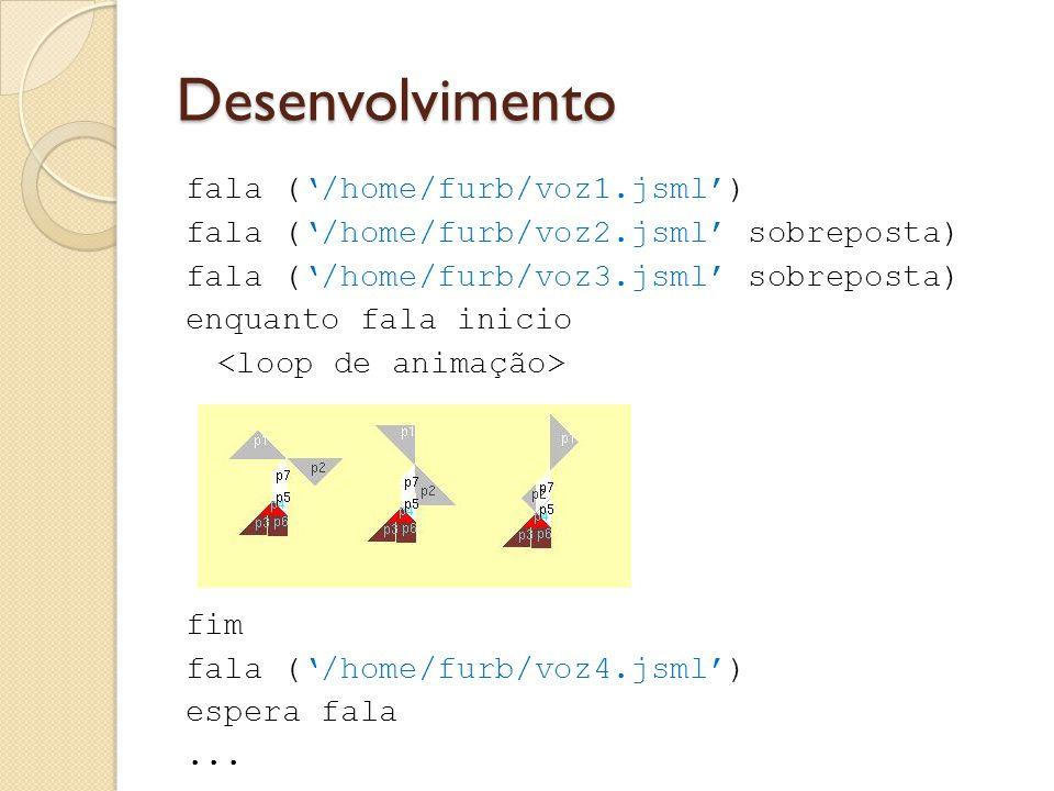 Desenvolvimento fala ('/home/furb/voz1.jsml') fala ('/home/furb/voz2.jsml' sobreposta) fala ('/home/furb/voz3.jsml' sobreposta) enquanto fala inicio fim fala ('/home/furb/voz4.jsml') espera fala...