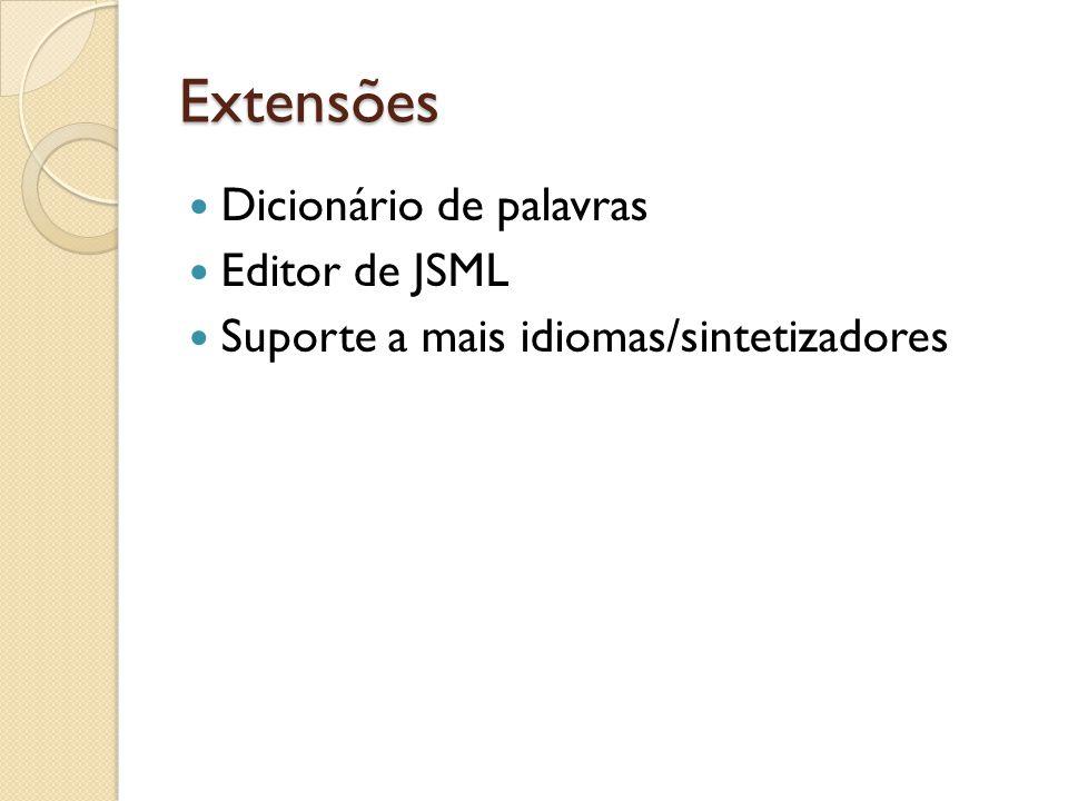 Extensões Dicionário de palavras Editor de JSML Suporte a mais idiomas/sintetizadores