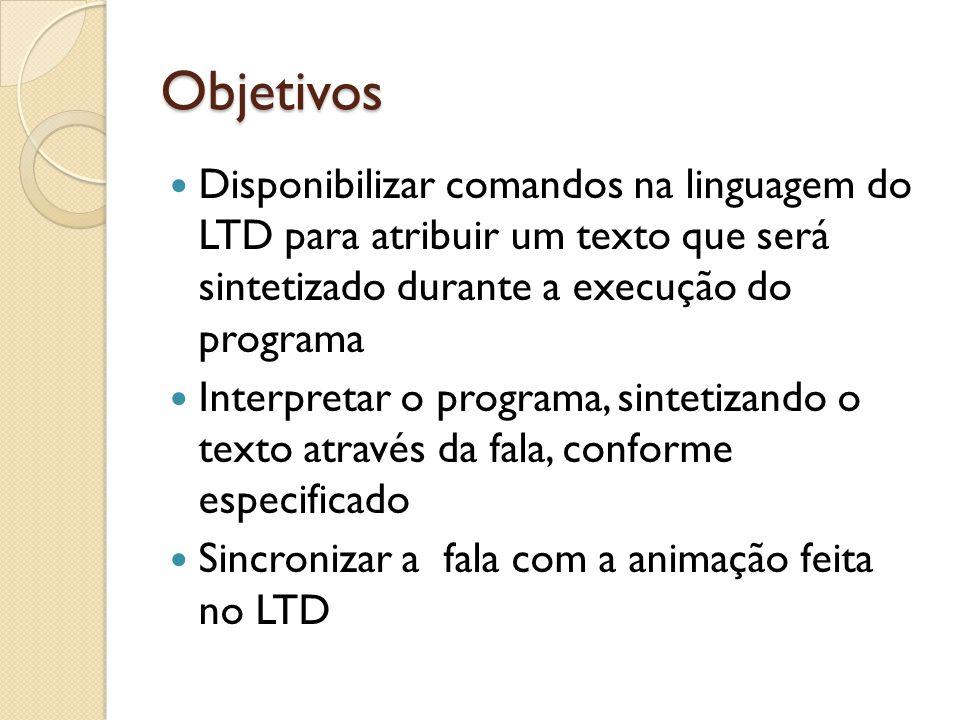 Objetivos Disponibilizar comandos na linguagem do LTD para atribuir um texto que será sintetizado durante a execução do programa Interpretar o programa, sintetizando o texto através da fala, conforme especificado Sincronizar a fala com a animação feita no LTD