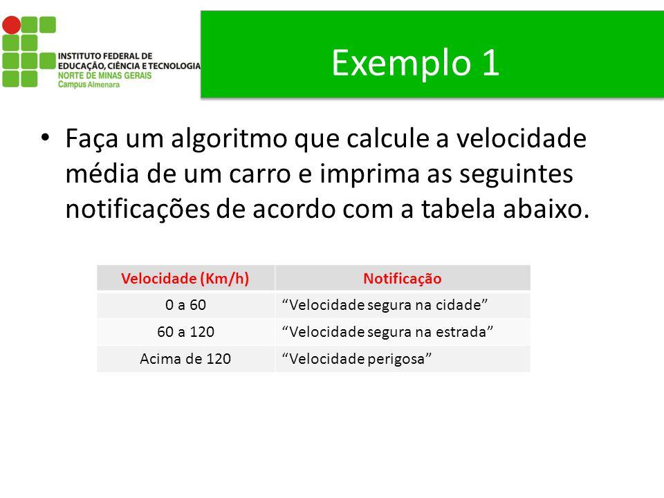 Exemplo 1 Faça um algoritmo que calcule a velocidade média de um carro e imprima as seguintes notificações de acordo com a tabela abaixo. Velocidade (
