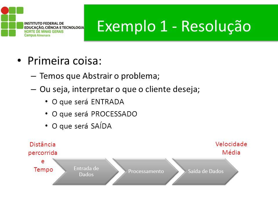 Exemplo 1 - Resolução Primeira coisa: – Temos que Abstrair o problema; – Ou seja, interpretar o que o cliente deseja; O que será ENTRADA O que será PR