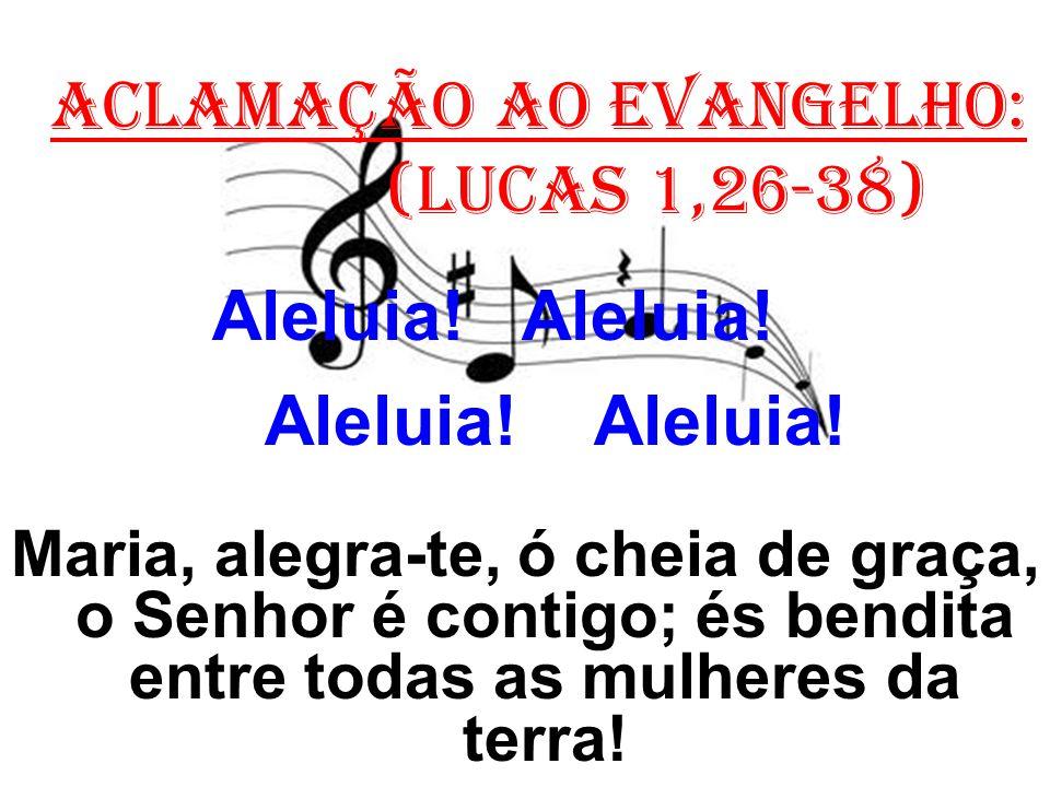 ACLAMAÇÃO AO EVANGELHO: (Lucas 1,26-38) Aleluia! Aleluia! Maria, alegra-te, ó cheia de graça, o Senhor é contigo; és bendita entre todas as mulheres d