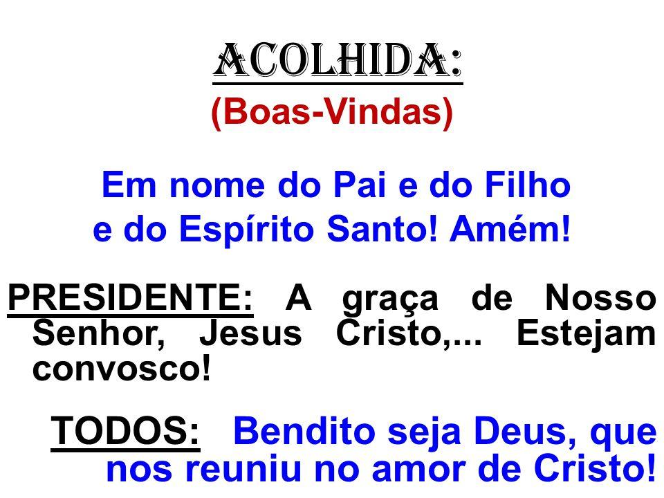 ACOLHIDA: (Boas-Vindas) Em nome do Pai e do Filho e do Espírito Santo! Amém! PRESIDENTE: A graça de Nosso Senhor, Jesus Cristo,... Estejam convosco! T