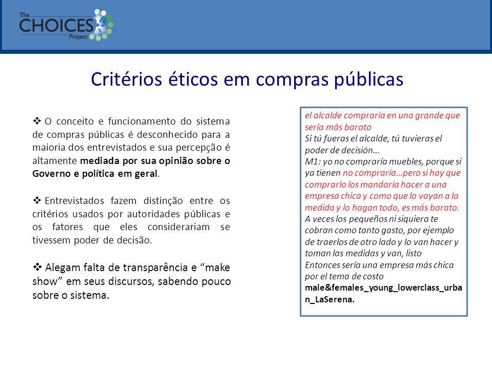 Critérios éticos em compras públicas  O conceito e funcionamento do sistema de compras públicas é desconhecido para a maioria dos entrevistados e sua