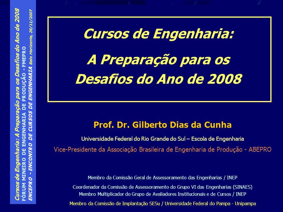 Cursos de Engenharia: A Preparação para os Desafios do Ano de 2008 FÓRUM MINEIRO DE ENGENHARIA DE PRODUÇÃO - FMEPRO ENCEPRO - ENCONTRO DE CURSOS DE ENGENHARIA Belo Horizonte, 26/11/2007 Avaliação das Condições de Ensino a partir de 2002: A Avaliação das Condições de Oferta realizada pela SESU, a partir de 2002, passou a ser realizada pelo INEP com o nome de Avaliação das Condições de Ensino Para a ACE, foram elaborados os Manuais de Avaliação dos Cursos e a Engenharia de Produção, que, no anterior, era avaliado dentro da Engenharia Mecânica, passou a ter Manual Próprio.