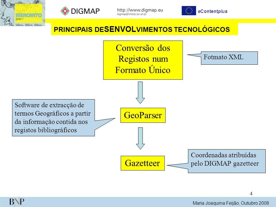 4 eContentplus Maria Joaquina Feijão, Outubro 2008 PRINCIPAIS DE SENVOL VIMENTOS TECNOLÓGICOS Gazetteer Coordenadas atribuídas pelo DIGMAP gazetteer C