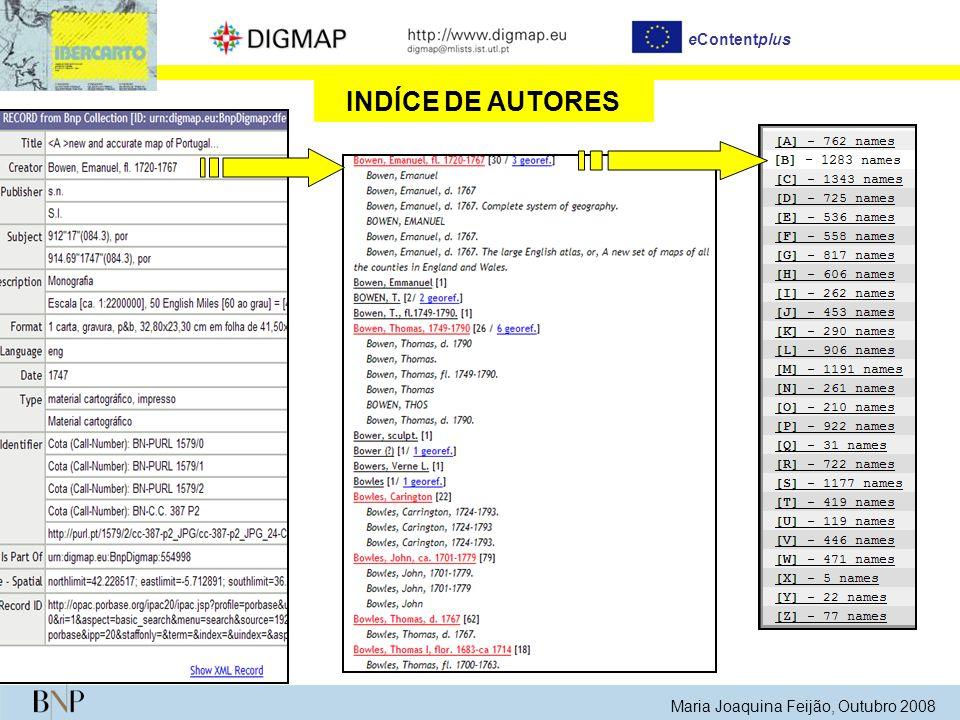 Maria Joaquina Feijão, Outubro 2008 eContentplus GeoParser Extracção de topónimos a partir da informação contida nos registos bibliográficos GAZETTEER DIGMAP (Reconhecimento de topónimos)