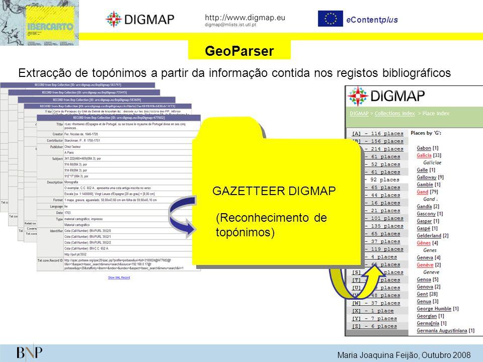 Maria Joaquina Feijão, Outubro 2008 eContentplus GeoParser Extracção de topónimos a partir da informação contida nos registos bibliográficos GAZETTEER