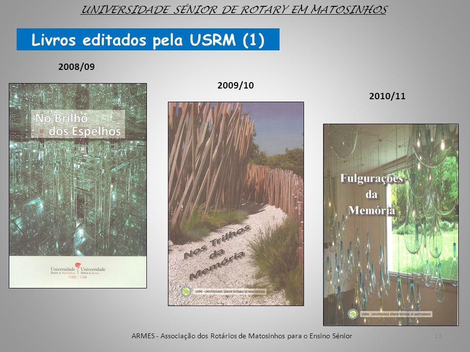 13 2008/09 2009/10 2010/11 Livros editados pela USRM (1) UNIVERSIDADE SÉNIOR DE ROTARY EM MATOSINHOS ARMES - Associação dos Rotários de Matosinhos par
