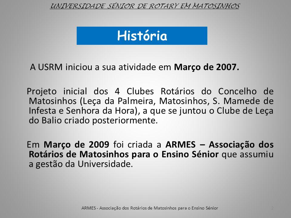UNIVERSIDADE SÉNIOR DE ROTARY EM MATOSINHOS História 2ARMES - Associação dos Rotários de Matosinhos para o Ensino Sénior A USRM iniciou a sua atividad