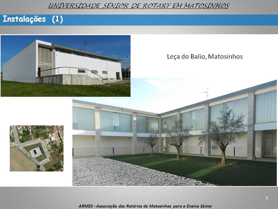 Instalações (1) 3 ARMES - Associação dos Rotários de Matosinhos para o Ensino Sénior UNIVERSIDADE SÉNIOR DE ROTARY EM MATOSINHOS