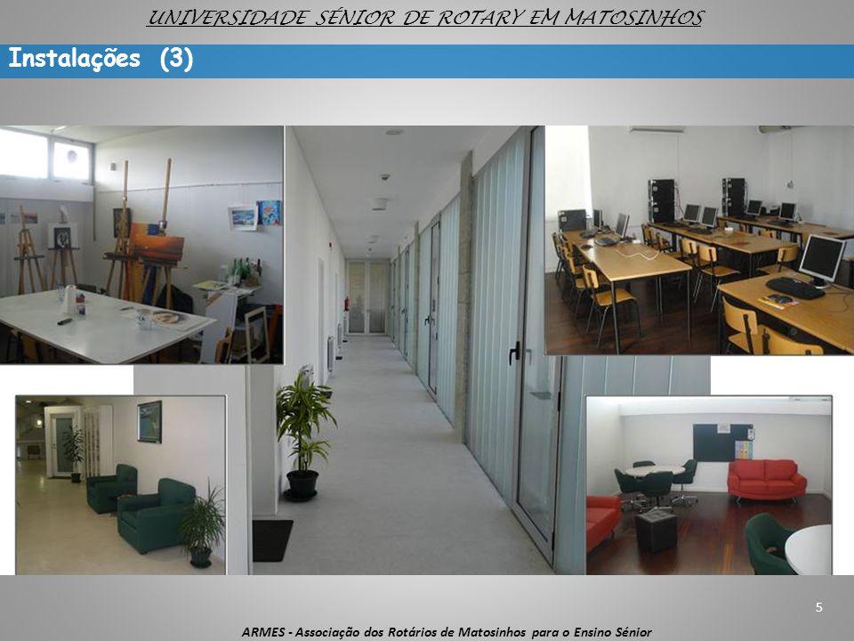 5 ARMES - Associação dos Rotários de Matosinhos para o Ensino Sénior UNIVERSIDADE SÉNIOR DE ROTARY EM MATOSINHOS Instalações (3)