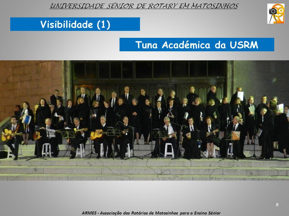 8 ARMES - Associação dos Rotários de Matosinhos para o Ensino Sénior UNIVERSIDADE SÉNIOR DE ROTARY EM MATOSINHOS Visibilidade (1) Tuna Académica da US