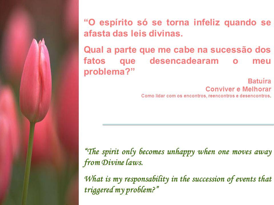 """""""O espírito só se torna infeliz quando se afasta das leis divinas. Qual a parte que me cabe na sucessão dos fatos que desencadearam o meu problema?"""" B"""