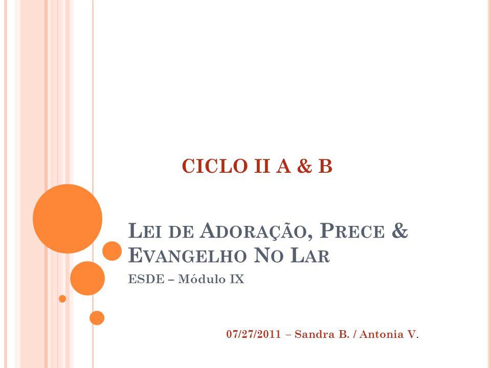 L EI DE A DORAÇÃO, P RECE & E VANGELHO N O L AR ESDE – Módulo IX 07/27/2011 – Sandra B.