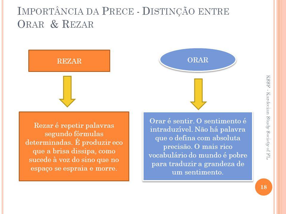 I MPORTÂNCIA DA P RECE - D ISTINÇÃO ENTRE O RAR & R EZAR REZAR ORAR Rezar é repetir palavras segundo fórmulas determinadas.