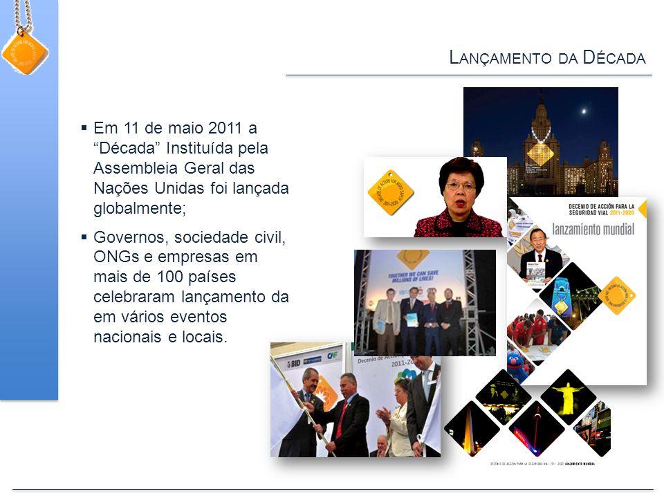 L ANÇAMENTO DA D ÉCADA  Em 11 de maio 2011 a Década Instituída pela Assembleia Geral das Nações Unidas foi lançada globalmente;  Governos, sociedade civil, ONGs e empresas em mais de 100 países celebraram lançamento da em vários eventos nacionais e locais.