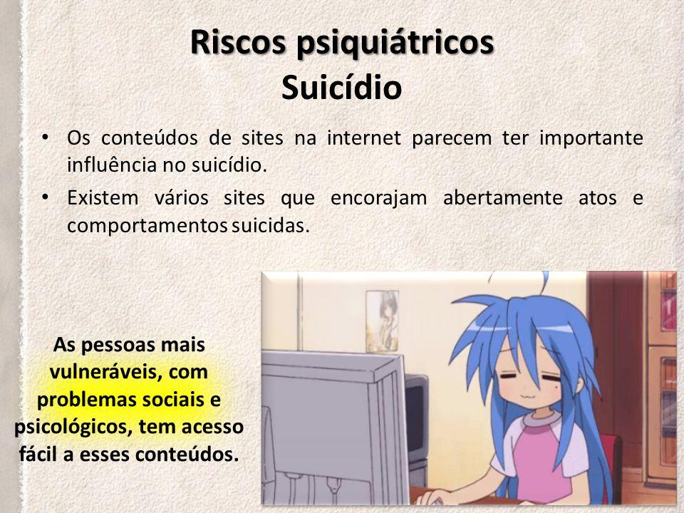 Riscos psiquiátricos Riscos psiquiátricos Suicídio O suicídio é a terceira principal causa de morte de adolescentes na Coreia do Sul e nos Estados Unidos.
