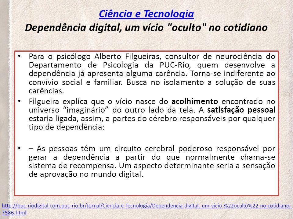 Critérios diagnósticos para DEPENDÊNCIA DE INTERNET PREOCUPAÇÃO EXCESSIVA COM A INTERNET NECESSIDADE DE AUMENTAR O TEMPO CONECTADO (ONLINE) PARA TER A MESMA SATISFAÇÃO EXIBIR ESFORÇOS REPETIDOS PARA DIMINUIR O TEMPO DE USO DA INTERNET APRESENTAR IRRITABILIDADE E/OU DEPRESSÃO QUANDO O USO DA INTERNET É RESTRINGIDO, APRESENTAR LABILIDADE EMOCIONAL (INTERNET COMO FORMA DE REGULAÇÃO EMOCIONAL) PERMANECER MAIS TEMPO CONECTADO (ONLINE) DO QUE O PROGRAMADO TER O TRABALHO E AS RELAÇÕES FAMILIARES E SOCIAIS EM RISCO PELO USO EXCESSIVO MENTIR AOS OUTROS A RESPEITO DA QUANTIDADE DE HORAS CONECTADO À INTERNET