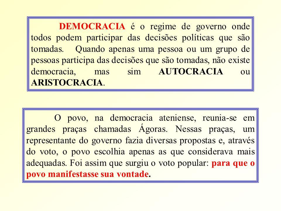 DEMOCRACIA é o regime de governo onde todos podem participar das decisões políticas que são tomadas.