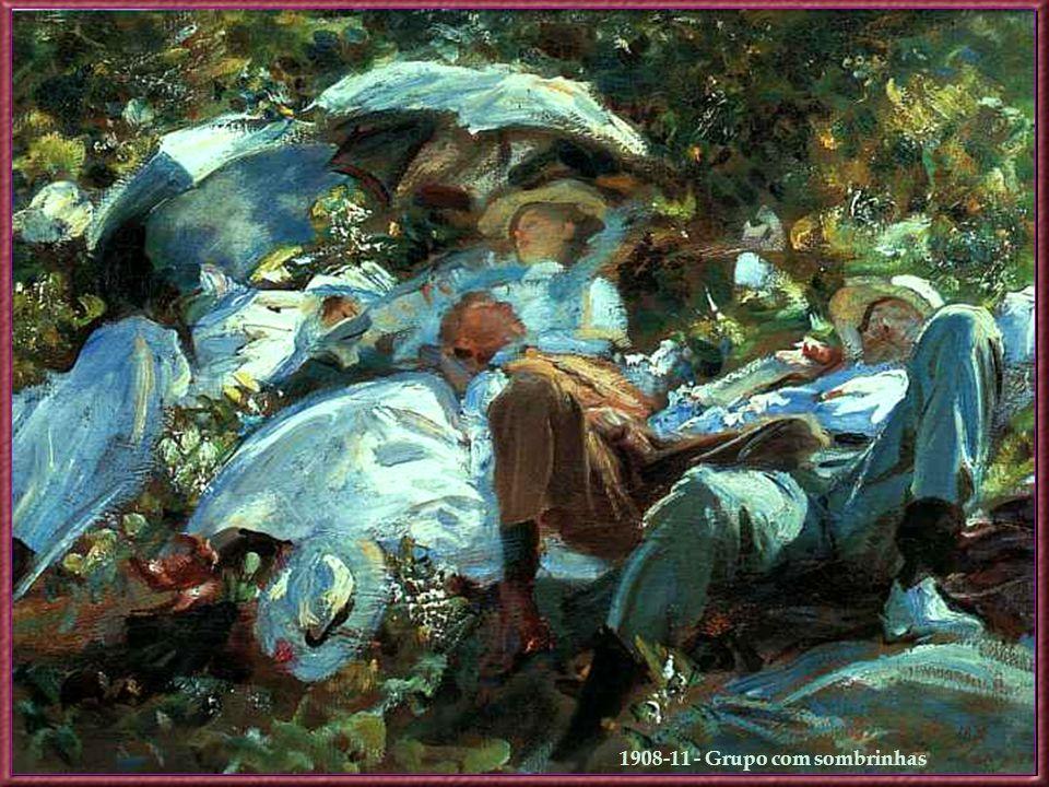1907 - A Nascente na Villa Torlonia em Frascati Por volta de 1910 Sargent afastou-se extensamente dos retratos, concentrando- se, primordialmente, em