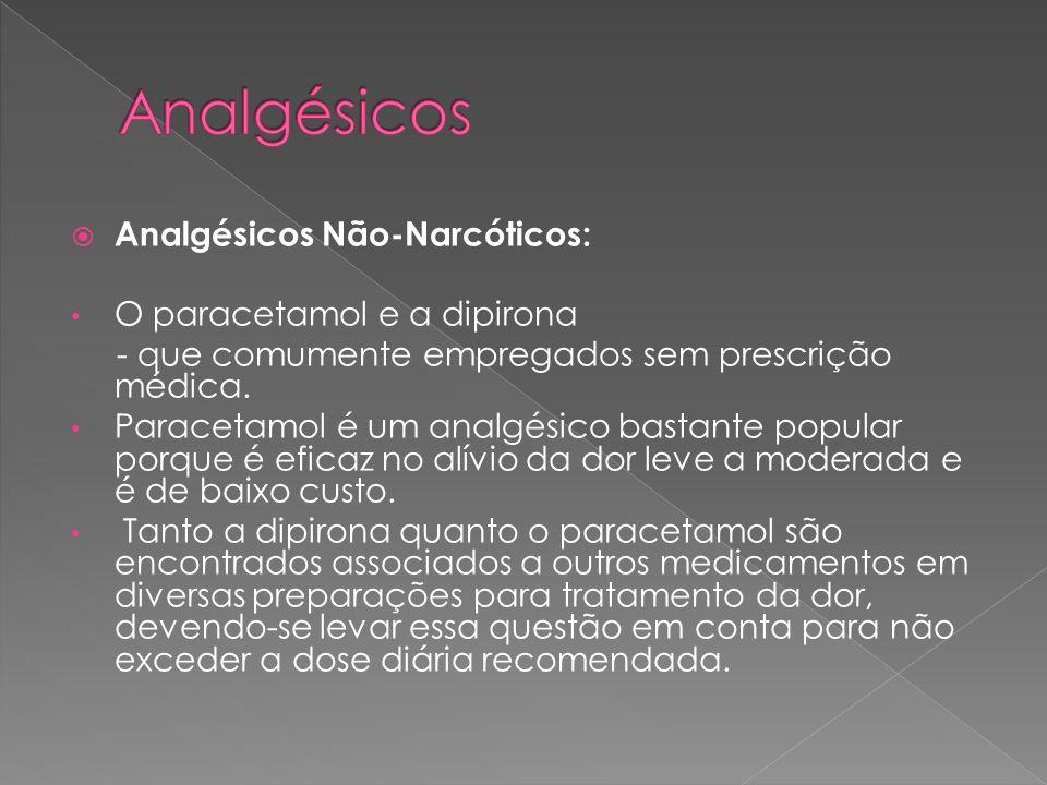  Analgésicos Não-Narcóticos: • O paracetamol e a dipirona - que comumente empregados sem prescrição médica.