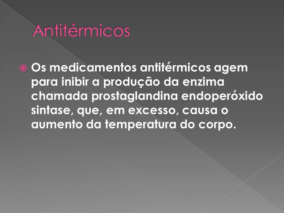  Os medicamentos antitérmicos agem para inibir a produção da enzima chamada prostaglandina endoperóxido sintase, que, em excesso, causa o aumento da temperatura do corpo.