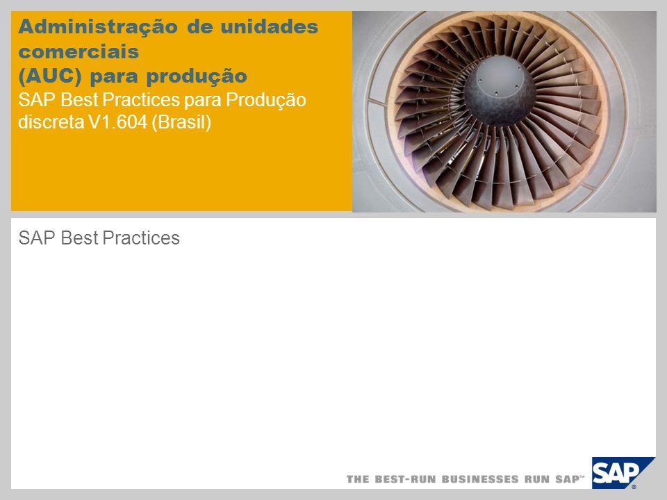 Administração de unidades comerciais (AUC) para produção SAP Best Practices para Produção discreta V1.604 (Brasil) SAP Best Practices