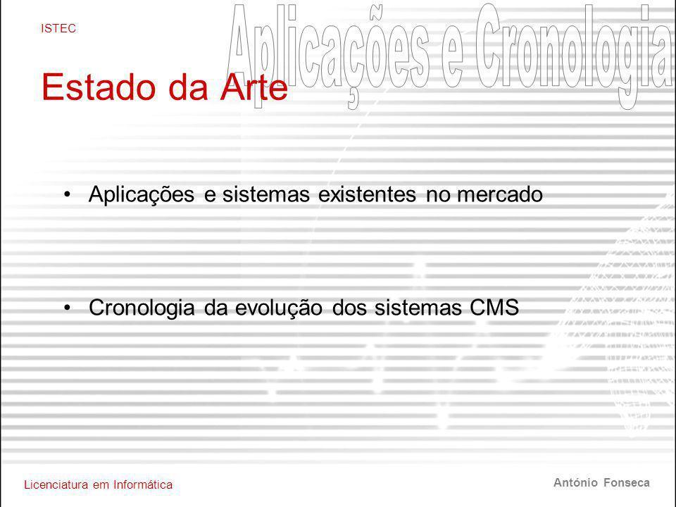 Licenciatura em Informática ISTEC António Fonseca Estado da Arte •Aplicações e sistemas existentes no mercado •Cronologia da evolução dos sistemas CMS