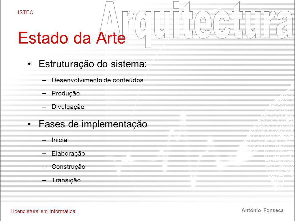 Licenciatura em Informática ISTEC António Fonseca Estado da Arte •Estruturação do sistema: –Desenvolvimento de conteúdos –Produção –Divulgação •Fases de implementação –Inicial –Elaboração –Construção –Transição