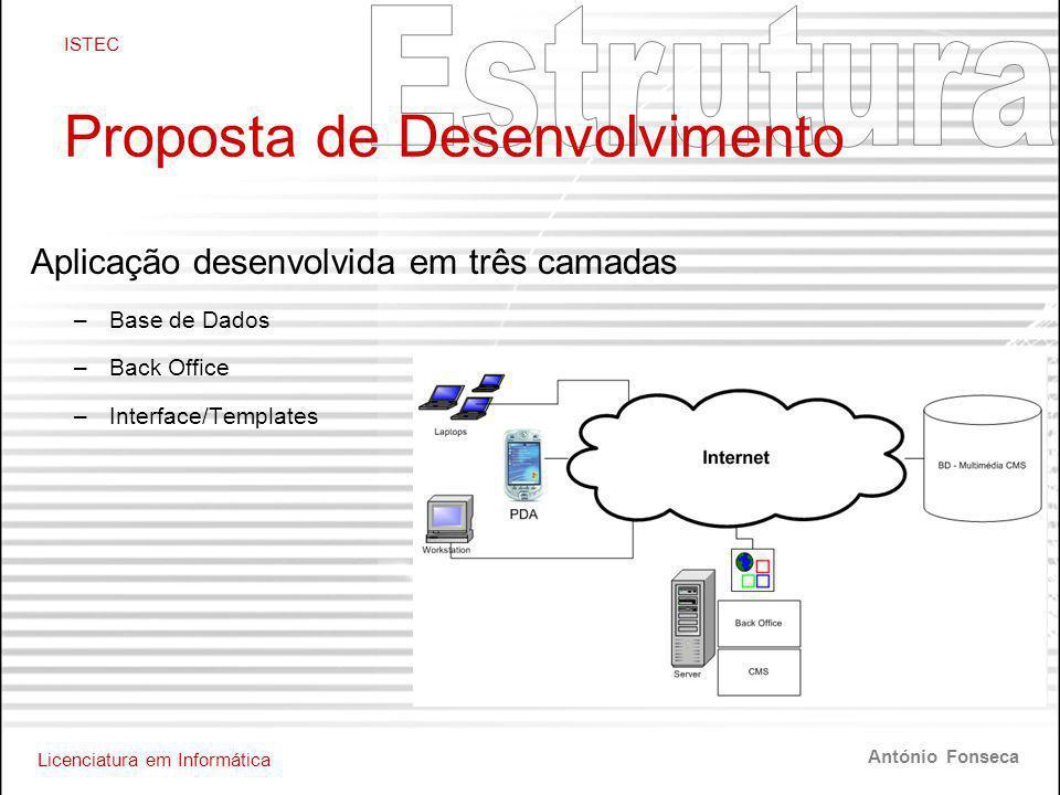 Licenciatura em Informática ISTEC António Fonseca Proposta de Desenvolvimento Aplicação desenvolvida em três camadas –Base de Dados –Back Office –Interface/Templates