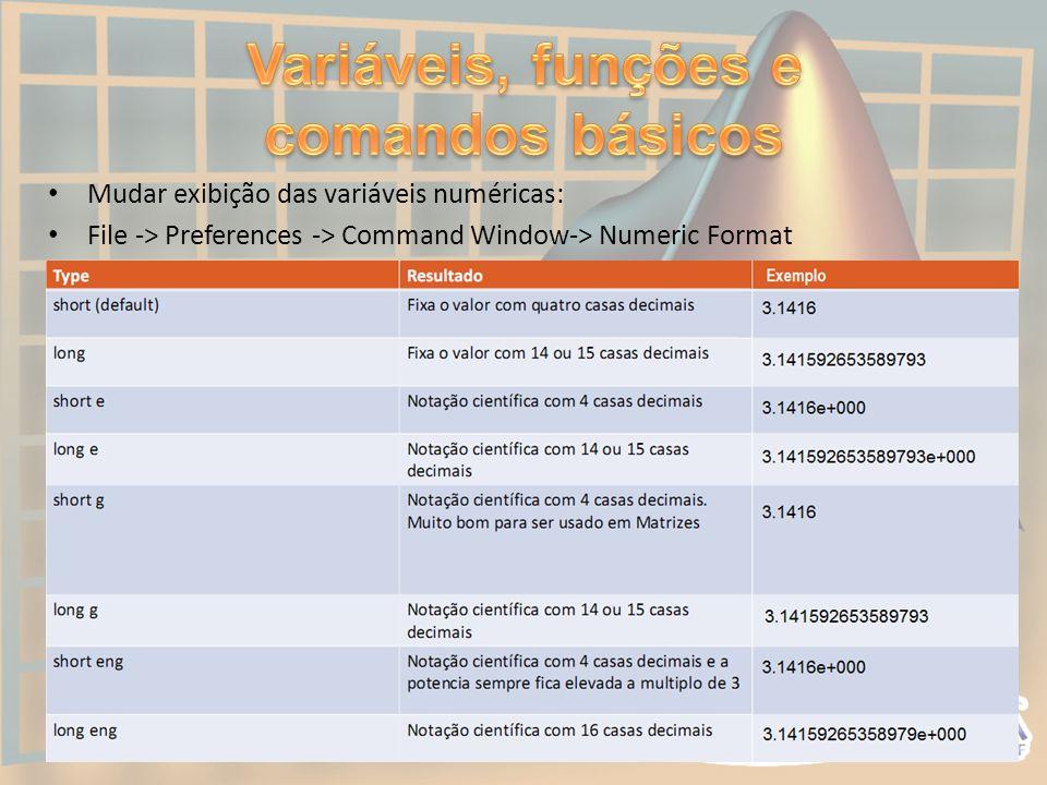 • Mudar exibição das variáveis numéricas: • File -> Preferences -> Command Window-> Numeric Format