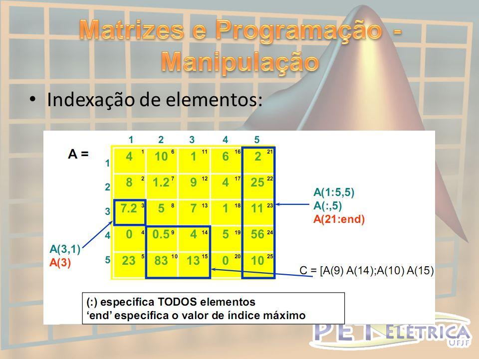• Indexação de elementos: