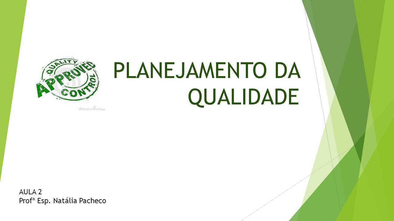 PLANEJAMENTO DA QUALIDADE AULA 2 Profª Esp. Natália Pacheco