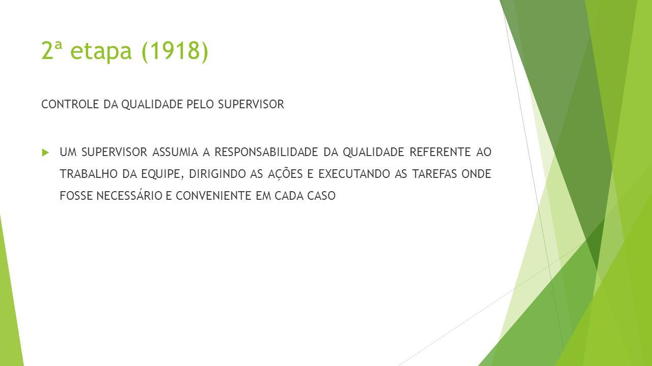 2ª etapa (1918) CONTROLE DA QUALIDADE PELO SUPERVISOR  UM SUPERVISOR ASSUMIA A RESPONSABILIDADE DA QUALIDADE REFERENTE AO TRABALHO DA EQUIPE, DIRIGINDO AS AÇÕES E EXECUTANDO AS TAREFAS ONDE FOSSE NECESSÁRIO E CONVENIENTE EM CADA CASO