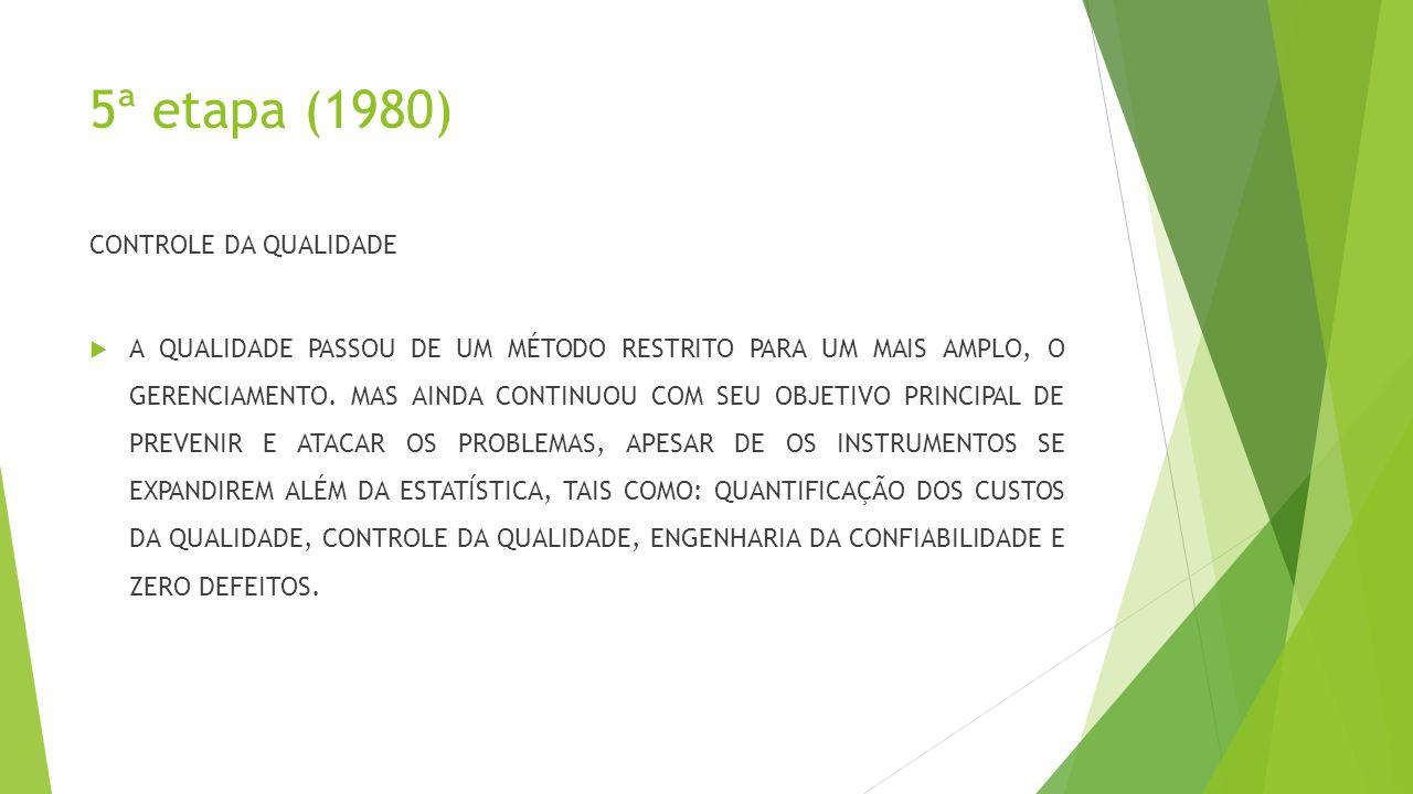 5ª etapa (1980) CONTROLE DA QUALIDADE  A QUALIDADE PASSOU DE UM MÉTODO RESTRITO PARA UM MAIS AMPLO, O GERENCIAMENTO.