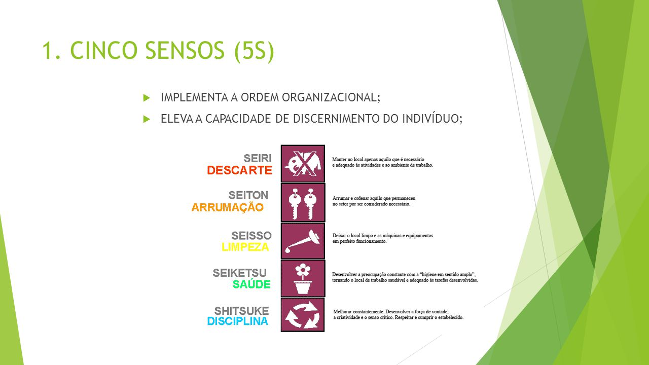 1. CINCO SENSOS (5S)  IMPLEMENTA A ORDEM ORGANIZACIONAL;  ELEVA A CAPACIDADE DE DISCERNIMENTO DO INDIVÍDUO;
