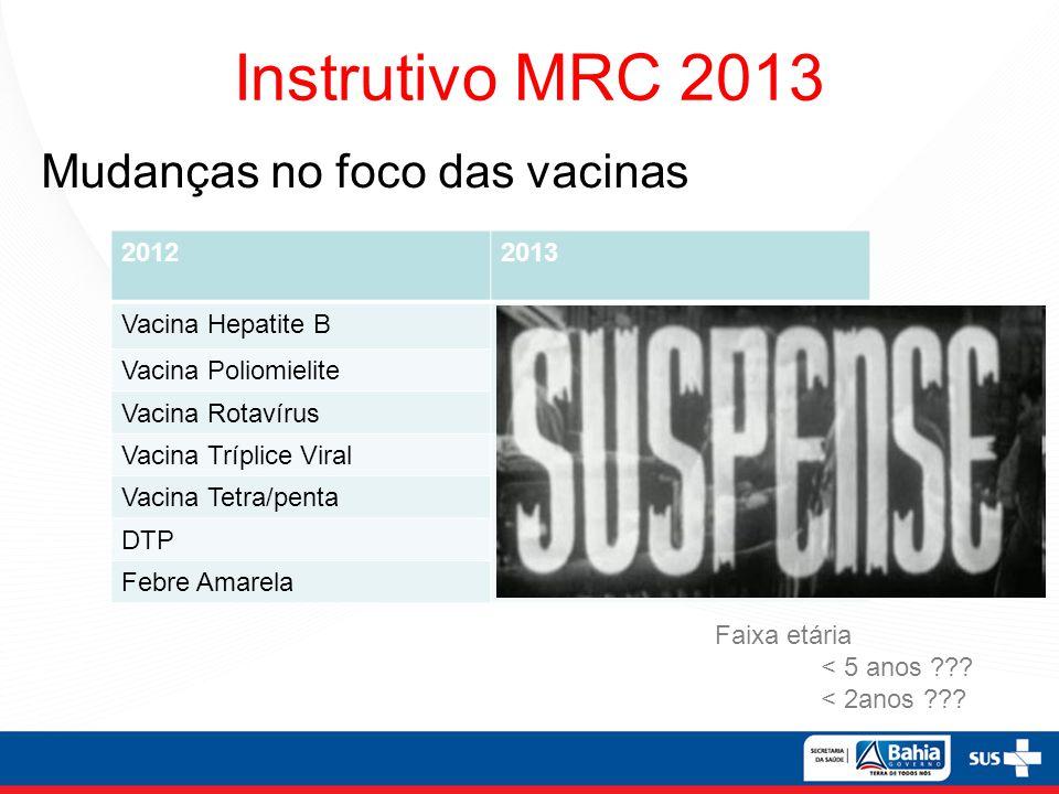 Instrutivo MRC 2013 Faixa etária < 5 anos ??? < 2anos ??? 20122013 Vacina Hepatite BVacina Pneumocócica 10V Vacina Poliomielite Vacina Rotavírus Vacin