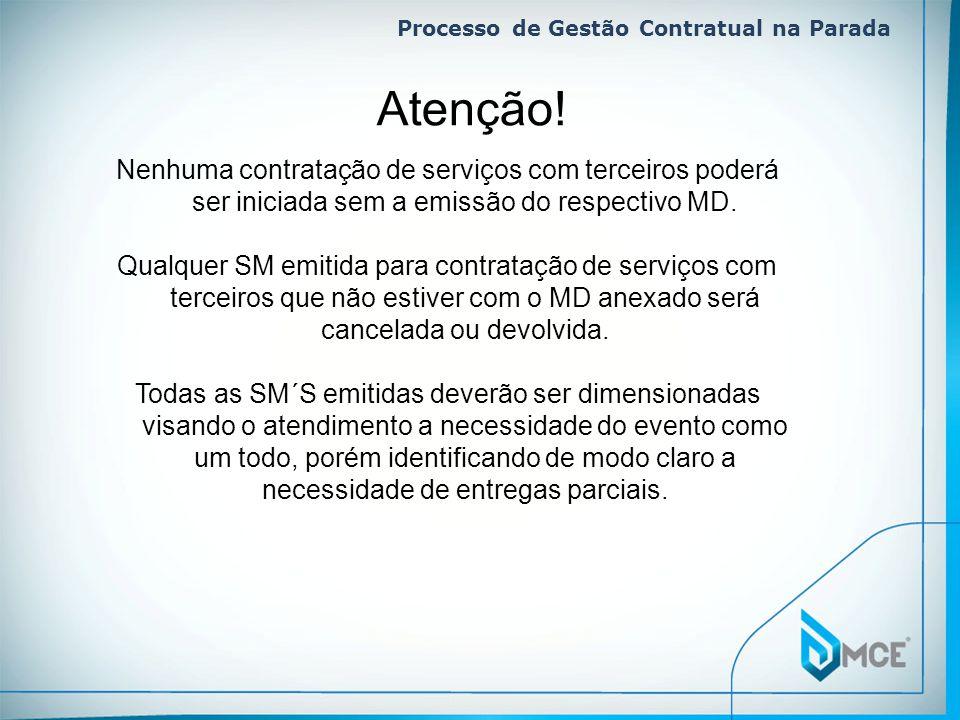 Processo de Gestão Contratual na Parada Nenhuma contratação de serviços com terceiros poderá ser iniciada sem a emissão do respectivo MD. Qualquer SM