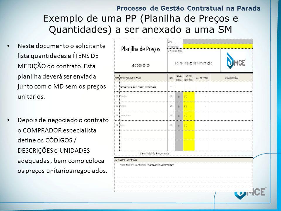 Processo de Gestão Contratual na Parada. Exemplo de uma PP (Planilha de Preços e Quantidades) a ser anexado a uma SM • Neste documento o solicitante l