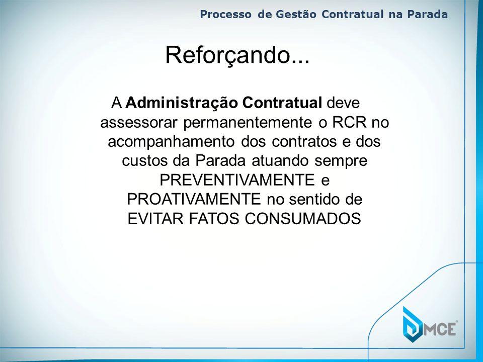 Processo de Gestão Contratual na Parada A Administração Contratual deve assessorar permanentemente o RCR no acompanhamento dos contratos e dos custos