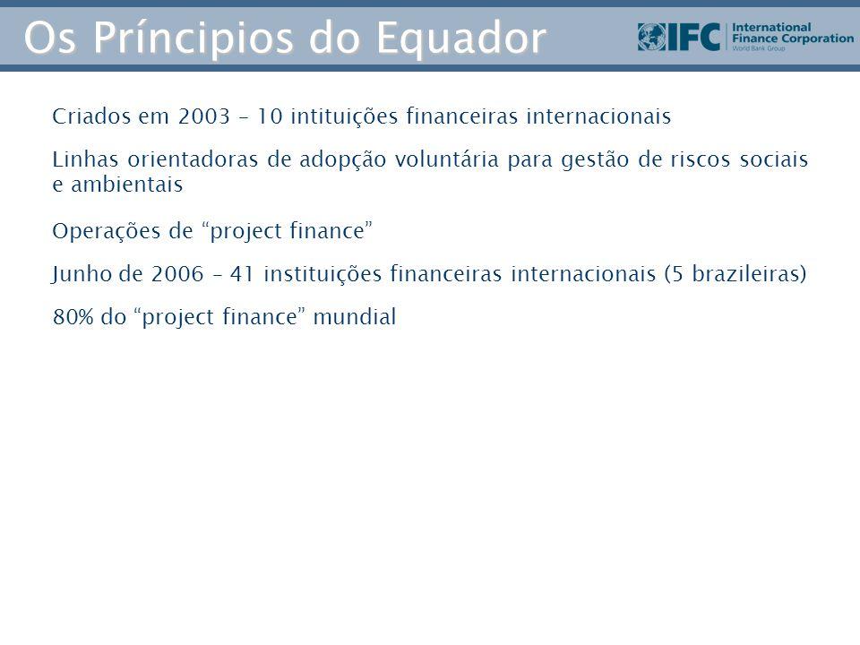 Os Príncipios do Equador Criados em 2003 – 10 intituições financeiras internacionais Linhas orientadoras de adopção voluntária para gestão de riscos sociais e ambientais Operações de project finance Junho de 2006 – 41 instituições financeiras internacionais (5 brazileiras) 80% do project finance mundial