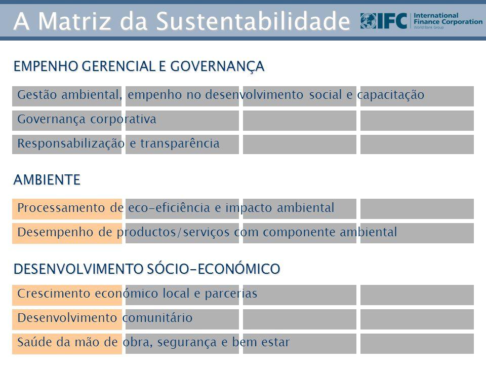 EMPENHO GERENCIAL E GOVERNANÇA AMBIENTE DESENVOLVIMENTO SÓCIO-ECONÓMICO Gestão ambiental, empenho no desenvolvimento social e capacitação Governança corporativa Responsabilização e transparência Processamento de eco-eficiência e impacto ambiental Desempenho de productos/serviços com componente ambiental Crescimento económico local e parcerias Desenvolvimento comunitário Saúde da mão de obra, segurança e bem estar