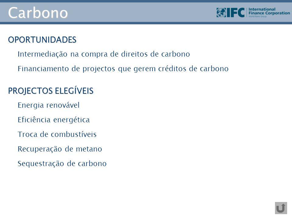 Carbono OPORTUNIDADES Intermediação na compra de direitos de carbono Financiamento de projectos que gerem créditos de carbono PROJECTOS ELEGÍVEIS Ener