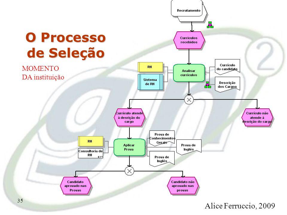 34 O Processo de Seleção MOMENTO DA instituição Alice Ferruccio, 2009