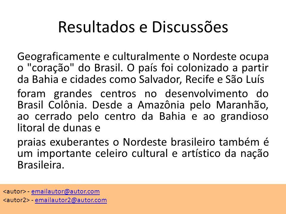 Resultados e Discussões Geograficamente e culturalmente o Nordeste ocupa o coração do Brasil.