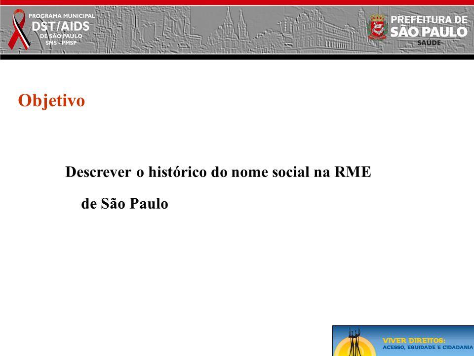 Objetivo Descrever o histórico do nome social na RME de São Paulo