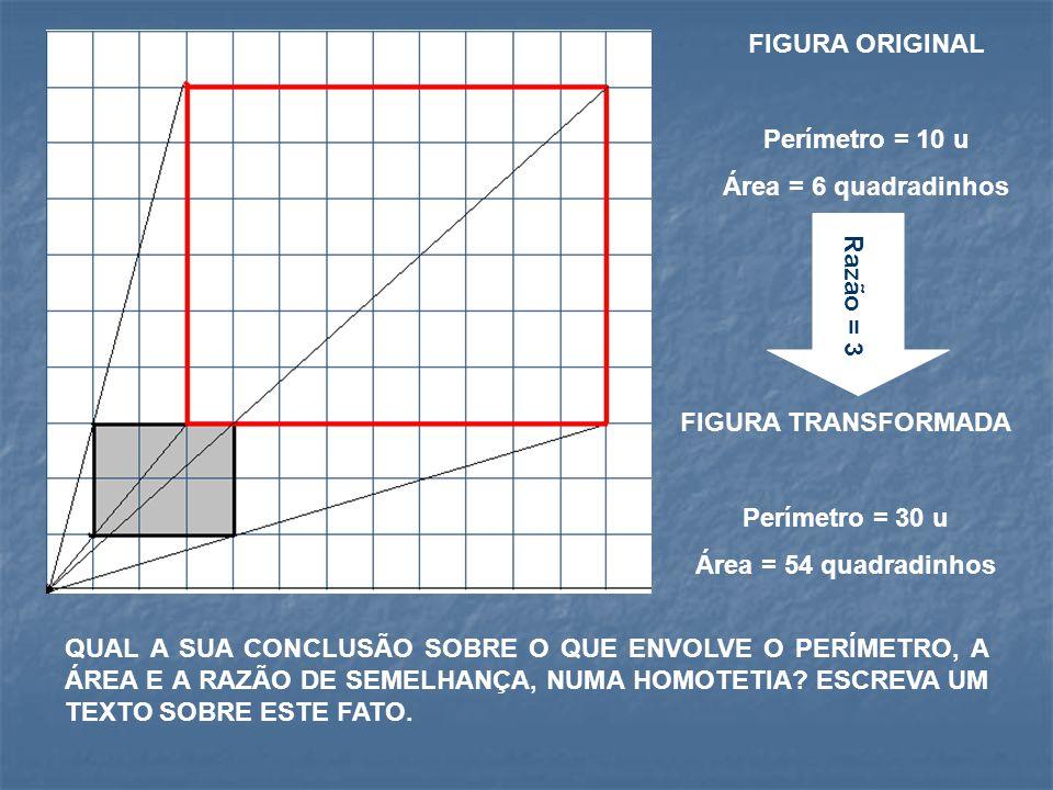 FIGURA ORIGINAL Perímetro = 10 u Área = 6 quadradinhos FIGURA TRANSFORMADA Perímetro = 30 u Área = 54 quadradinhos Razão = 3 QUAL A SUA CONCLUSÃO SOBRE O QUE ENVOLVE O PERÍMETRO, A ÁREA E A RAZÃO DE SEMELHANÇA, NUMA HOMOTETIA.